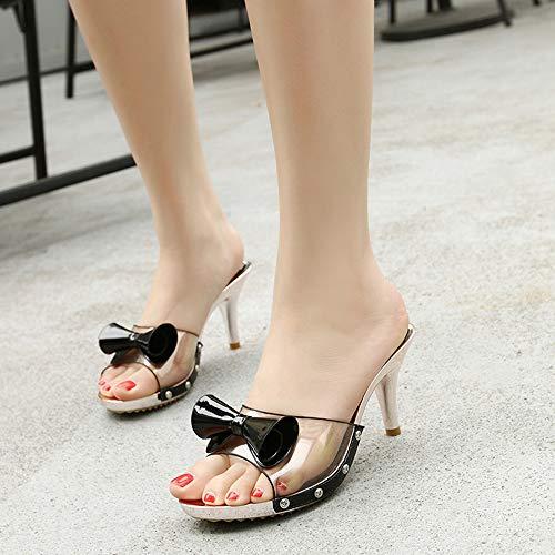 Jqdyl Nuevo Sandal Crystal with Cool Stiletto Casual Fish Boca Bow Heel High Heels