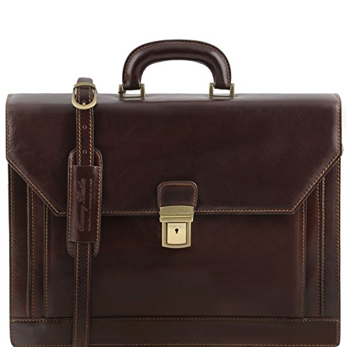 briefcase ROMA case 81413494 ST Leather TUSCANY Laptop 3 brown dark compartments LEATHER wqqXTUt