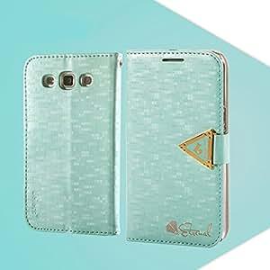 HAINENT [Cyan] Multi-Function Flip Wallet PU de Cuero Funda Carcasa Soporte Stand con Tarjeta de Crédito Slots For Samsung Galaxy Win I8550 I8552