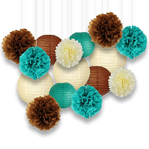 - Just Artifacts Decorative Paper Party Pack (15pcs) Paper Lanterns and Pom Pom Balls - Ivory/Teal/Browns - Paper Lanterns and Décor for Birthday Parties, Baby Showers, Weddings and Life Celebrations!