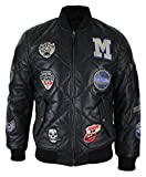 zara man quilted jacket - Mens Real Lether Quilted Puffer Varsity Baseball Bomber Letterman Jacket Badge