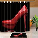 KOTOM Creative Sex Woman Decor, Red High Heels in Black 69X70in Mildew Resistant Polyester Fabric Shower Curtain Suit With 15.7x23.6in Flannel Non-Slip Floor Doormat Bath Rugs