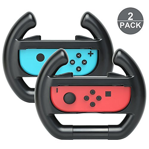 2 Pack Controller Direction Manipulate Steering Wheel Grip Handle for Left & Right of Switch Joy-Con Controllers