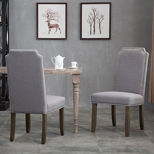 Merax Set of 2 Stylish Upholstered Fabric Dining Chairs with Nailhead Detail and Solid Rubber Wood Legs (Grey) (Dining Upholstered Chairs With Seats)