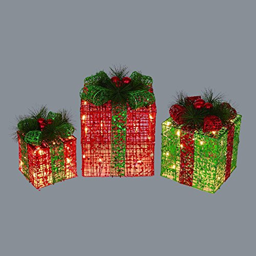 Outdoor Lighted Christmas Packages Decorations - 3