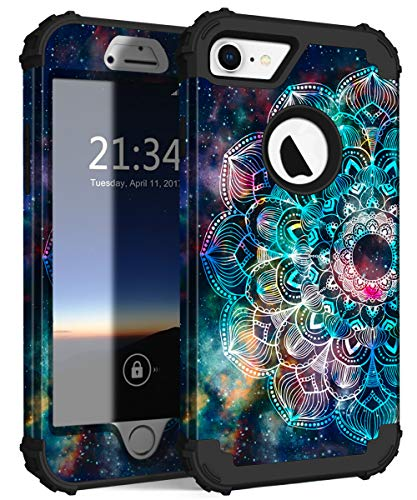 - Hocase iPhone 8 Case iPhone 7 Case, Shockproof Protection Heavy Duty Hard Plastic+Silicone Rubber Bumper Full Body Protective Case for iPhone 8, iPhone 7 (4.7-Inch Display) - Mandala in Galaxy