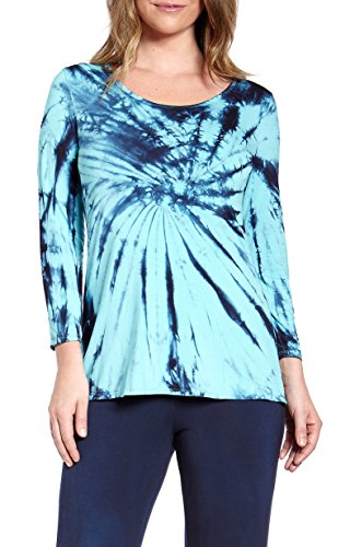 Bamboo Tie Dye - Sassimi Women's Bamboo Rayon Ultra Soft 3/4-Sleeve Tie Dye Top (Small (4-6))