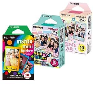 Fujifilm Instax Mini Film Rainbow - Staind Glass - Shiny Star Film -10 Sheets X 3 Assort (Taketori Store Original Goods with Instructions)