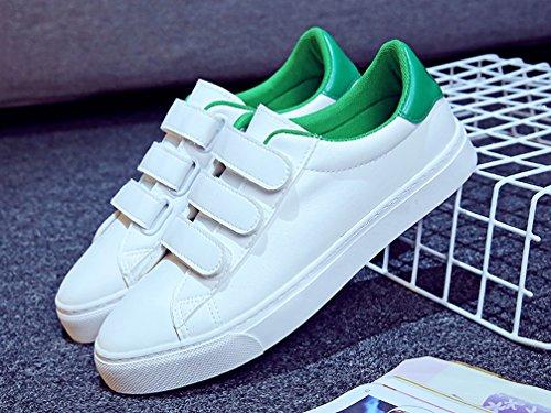 VECJUNIA Ladies Smile Face Hook-and-Loop Low Top White Walking Sneakers Green Ejtwvi6