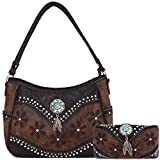 Tooled Leather Laser Cut Concealed Carry Purses Feather Country Western Handbags Shoulder Bags Wallet Set (Coffee 2)