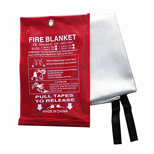 Fire Prevention Safety (Fire Blanket, Fiberglass Fire Flame Retardent Emergency Surival Fire Shelter Safety Cover for Flame Retardance and Escape in the Event of a Fire in a Kitchen, Car or Camping. (M(47.2×47.2 inches)))