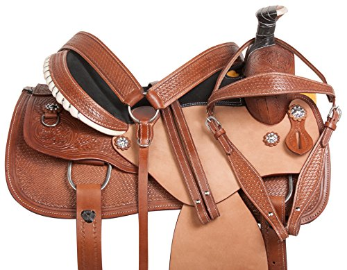 "15"" 16"" WESTERN ROPING HAND TOOLED LEATHER HORSE SADDLE TACK ROUGH OUT (16) (Western Saddle Roping)"