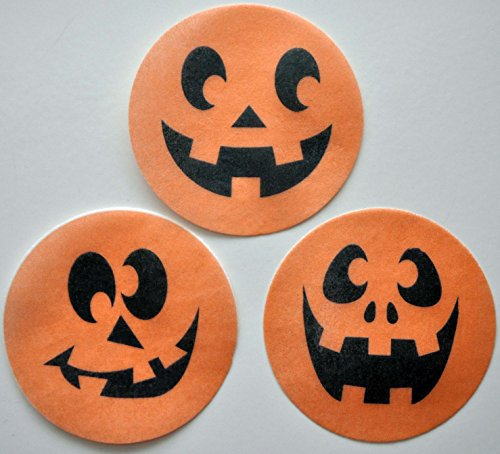 Happy Pumpkin Edible Wafer Paper Cupcake / Cookie Toppers by MAKCreationsCakeSupply ~ Pre Cut 2 1/2