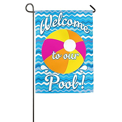 DFGTLY Personalized Garden Flag-Welcome To Our Pool Yard Fla