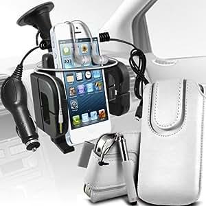 Nokia Lumia 810 premium protección PU botón magnético ficha de extracción Slip espinal en bolsa de la cubierta de piel de bolsillo rápido con lápiz óptico retráctil, Jack de 3,5 mm auriculares auriculares auriculares, cargador de coche USB Micro 12v y soporte universal de la succión del parabrisas del coche Vent Cuna Blanca por Spyrox