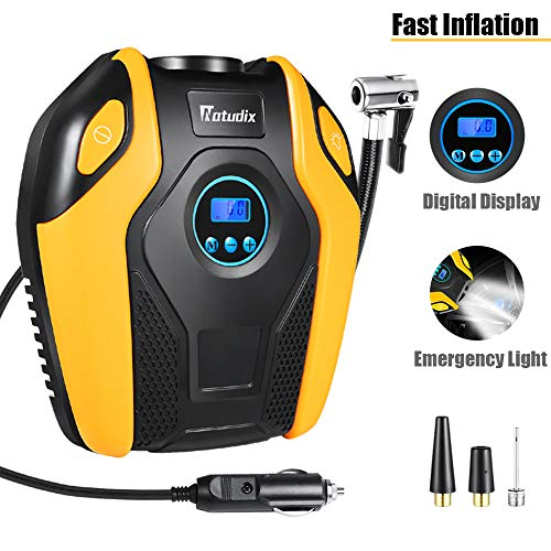 Air Compressor Tire Inflator - Natudix Car Tire Pump Digital Tire Pressure Gauges Portable Air Tool 12V 150PSI with LCD Display LED Light for Trucks Motorcycle Bike Basketball Boat (2019 Version) (Best Tyre Air Compressor)