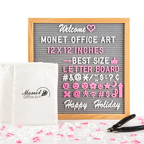 Monet Office Art Gray Felt Letter Board | 12x12'' Large Wooden Letterboard With 300 White Letters, Set of Special Words and 173 Pink Characters And Emoji | Solid Oak Wood Frame And Wall Mount Hook
