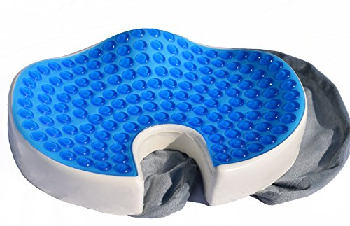 CalCore Orthopedic Memory Foam Tailbone Seat Cushion with Cooling Gel Technology - Office Chair Car Seat Cushion - Coccyx Tailbone Cushion for Relief of Lower Back Pain & Sciatica