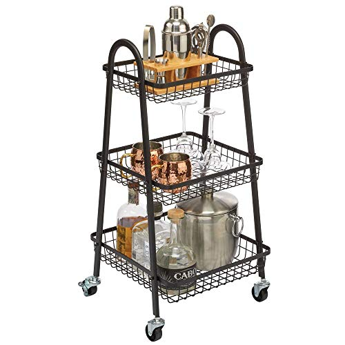 mDesign Metal 3-Tier Tapered Wire Rolling Household Storage Cart to use in Bathrooms, Kitchen, Craft Rooms, Laundry Rooms, and Kid's Rooms - Portable, Includes 4 Caster Wheels - Matte Black (Purse Cork Wire)