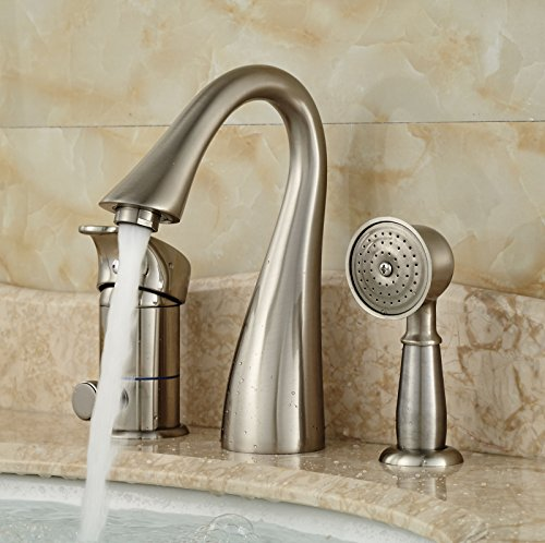 Rozin Brushed Nickel Widespread Single Handle Bathtub Faucet with Handheld Shower by Rozin