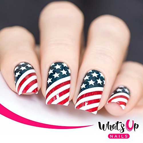 Whats Up Nails - American Flag Vinyl Stencils for Nail Art Design (2 Sheets, 24 Stencils Total) ()
