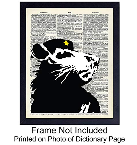 (Che Guevara Rat On Photo of Dictionary Page - Unframed Wall Art Print - Steampunk Chic - Great Home Decor - Perfect Affordable Gift - Ready to Frame (8x10) Photo - Banksy)