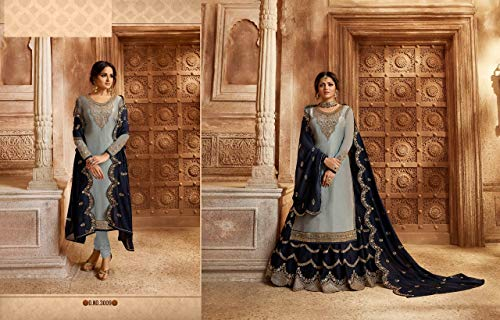Indian Kurta Dupatta Party 1 Salwar Heavy Work 2 Designer Straight Cut Wear Ethnic 7545 In Lehenga Kameez Grey f0vw1x0
