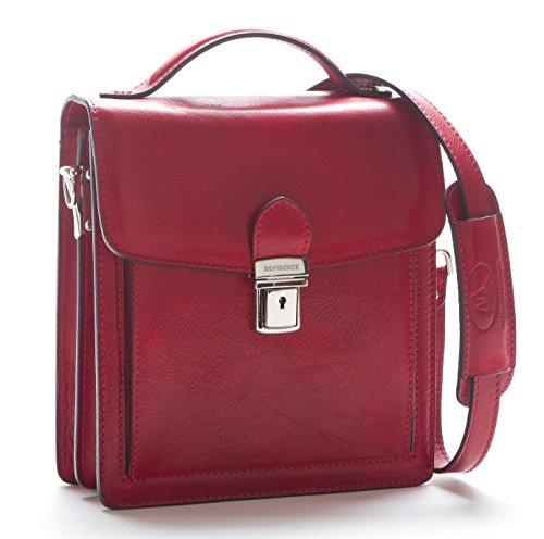 Rosso completamente vegetale Borsa realizzata portatutto italia conciata al pelle 22x8xh24 Organizer con Messenger in rwPrIO