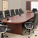 12FT - 26FT Large Conference Room Table, Cherry Mahogany or Maple, Meeting Business, Boardroom (14ft w/ 1 Grommet, Mahogany)