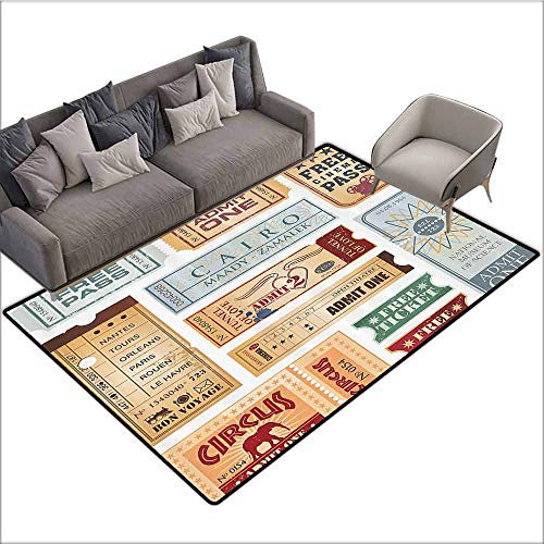 Anti-Slip Outdoor Rugs Vintage,Various Tickets Collection Circus Cinema Museum Festival Old Concept,Baby Blue Light Brown Red 36