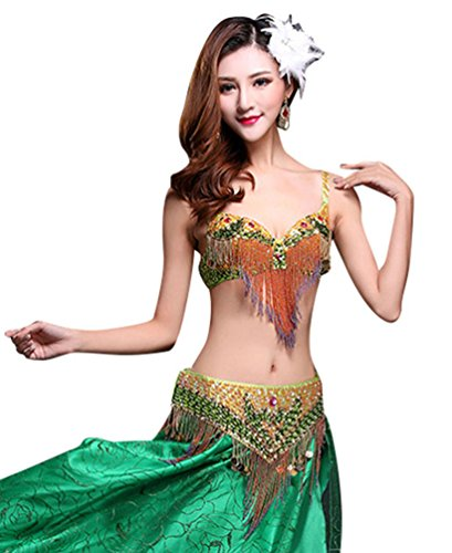 Sexiest Belly Dancing Costumes (Women Dance Costume Belly Dance Set Indian Dance Tops Bra Set Green S)