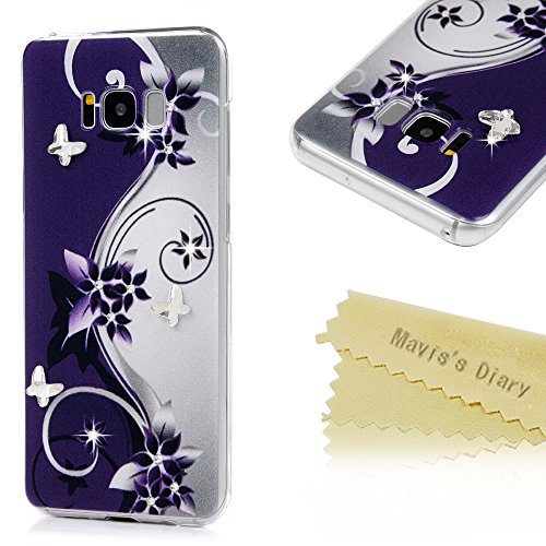 S8 Plus Case,Mavis's Diary Luxury 3D Handmade Bling Sparkle Crystal Rhinestone Diamonds Butterfly Purple Vines Flowers Fashion Design Full Edge Protection Clear Hard PC Case Made for Galaxy S8 (Purple Full Rhinestones)