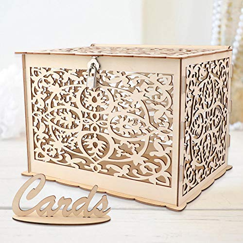 Wmbetter DIY Wedding Card Box with Lock Rustic Wood Card Box Gift Card Holder Card Box Perfect for Weddings, Baby Showers, Birthdays, Graduations Hold up 225 ()