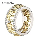 Amulet789 Pure Copper Antique Gold Color Lucky 3D Elephant Ring Romantic Zircon Ring For Man/Woman Jewelry (8)