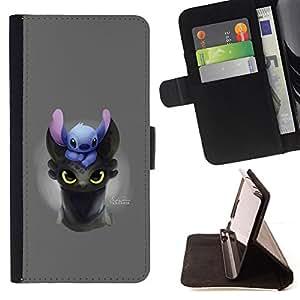 BullDog Case - FOR/Samsung Galaxy S3 Mini I8190Samsung Galaxy S3 Mini I8190 / - / CARTOON COMIC JAPANESE ANIME CREATURE ANIMAL /- Monedero de cuero de la PU Llevar cubierta de la caja con el ID Credit Card Slots Flip funda de cuer