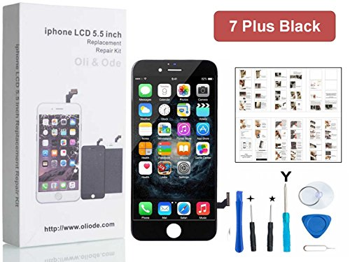 iPhone 7 Plus Screen Replacement For Lcd Touch Screen Digitizer Frame Assembly Set with 3D Touch Free Tool Set (Black)