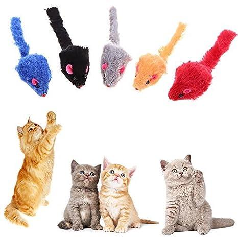 Broadroot 20 juguetes interactivos para gato, forma de ratón de peluche, juguete para gatito
