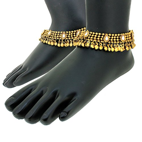 Charms Golden Ethnic Antique Kundan Studded Alloy Anklet by Unknown (Image #6)