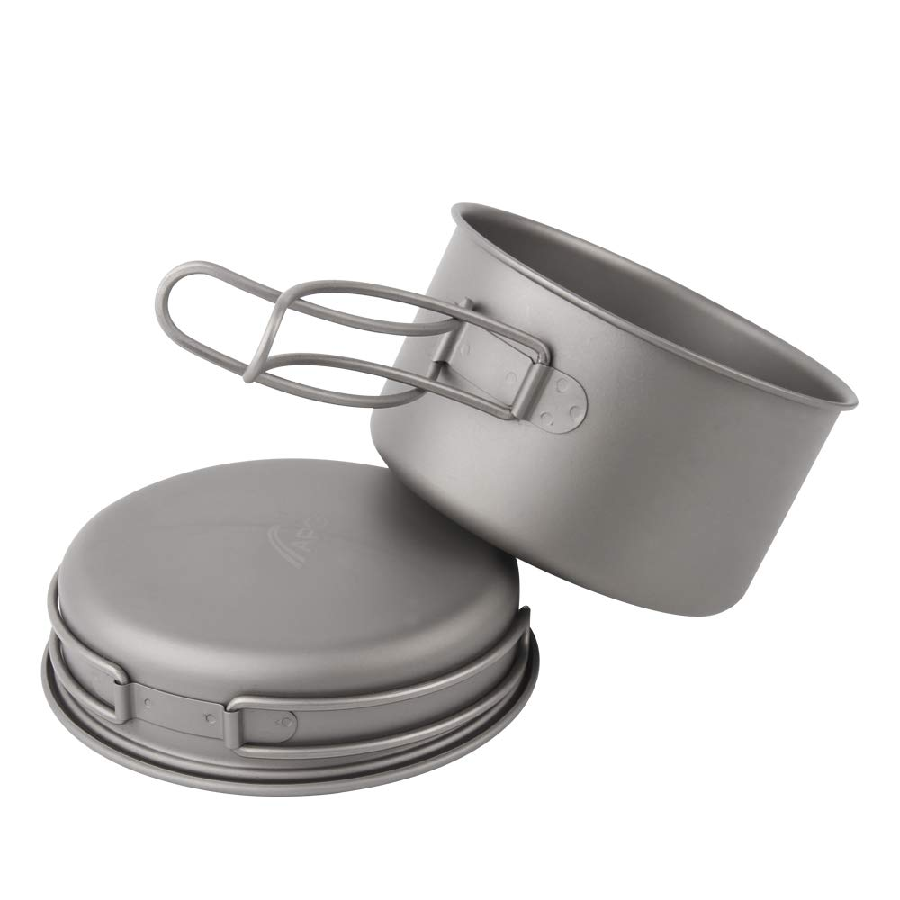 Ultralight Titanium Pan and Outdoor Cookware Camping Pot Folding Tableware Enhancing The Rody Resistance (800ml) by Ultralight Titanium Pan And Outdoor Cookware Camping Pot Folding Tableware Enhancing The Rody Resist