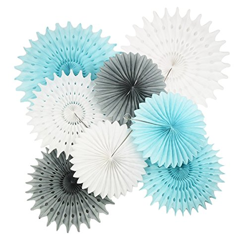 Baby Blue White Grey Baby Boy Baby Shower Decorations/Party Decorations First Birthday Boy Decorations Tissue Pom Pom Flower 8pcs Tissue Paper Fan for Baby Shower Decorations Boy (Tissue Paper Banner)