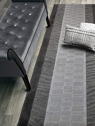 Custom Size Zebra Hallway Runner Rug Slip Resistant Rubber Back, 26 Inch Wide x Your Choice of Length Size, Anthracite, 26 Inch X 18 Feet, Sold and Priced Per Foot (Gray Zebra)