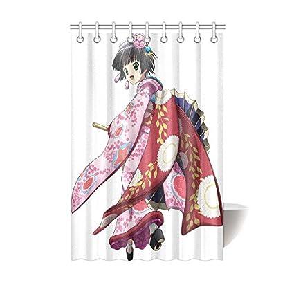 Japanese Art Geisha Girl Waterproof Bathroom Decor Fabric Shower Curtain Polyester 48 X 72 Inches