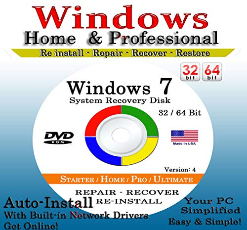Direct Supplier - WIN 7 SYSTEM REPAIR & RE-INSTALL 32 Bit & 64 Bit BOOT DISK: Repair & Re-install any version of Win 7 Basic, Home, Premium and Ultimate
