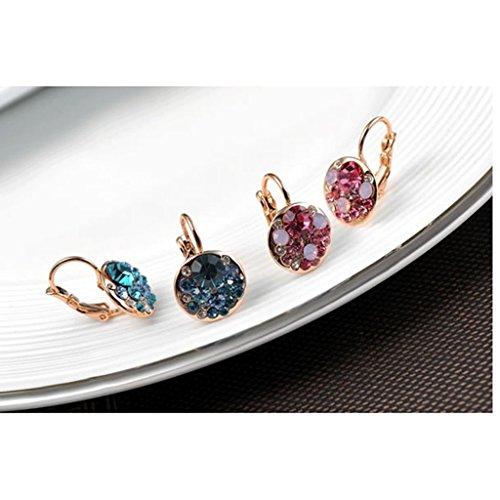 Crystal Hoop Dangle Clip (Baosity Rose Gold Women Crystal Rhinestone Dangle Hoop Clip Earrings Leverback Earrings)