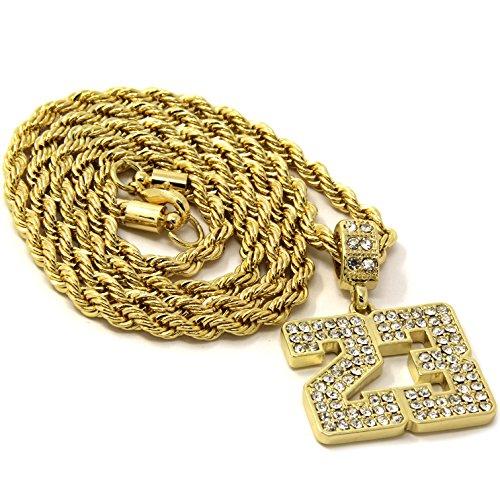 Mens 23 Jewels - New Mens 14k Gold Plated Medium #23 Cz Pendant Hip-Hop 24