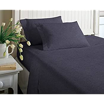 Cotton Rich T Shirt Soft Heather Jersey Knit Sheet Set   All Season Bed  Sheets