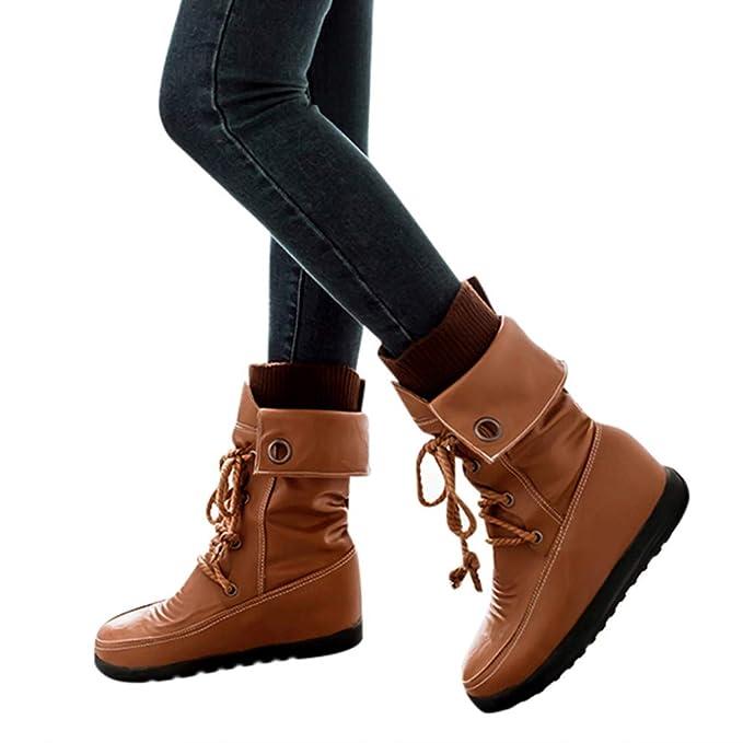 JiaMeng Mujer Invierno Boots Calentar Zapatos con Punta Redonda Botas Cruzadas Botas cálidas Zapatos de Felpa Cortos Botas Impermeable Plano Botines con ...
