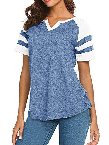 Short Sleeve Raglan Baseball Tee for Women Jersey Striped Small V Neck Tunic Tshirts
