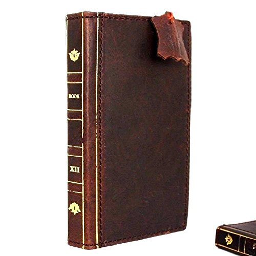 Genuine Vintage Real Leather Case fit iPhone 8 Plus Bible Book Wallet Handmade Cover Brown Retro Slim Luxury RFID Pay pro Classic DavisCase 1948 (Phone Case Wallet Book)