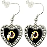 NFL Washington Redskins Crystal Heart Earrings with Team Logo